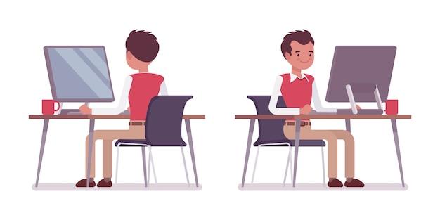 Ensemble d'employé de bureau jeune homme au bureau Vecteur Premium