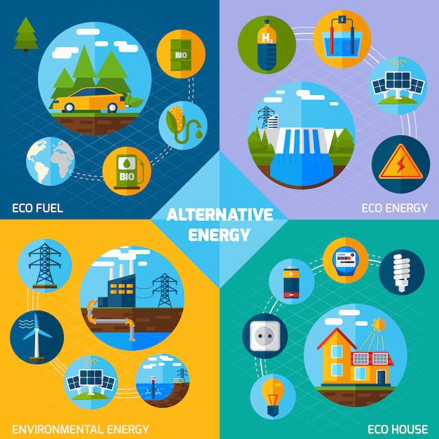 Ensemble d'énergie alternative Vecteur gratuit