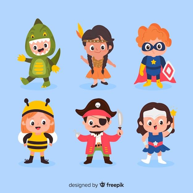 Ensemble enfant costume halloween drôle et mignon Vecteur gratuit
