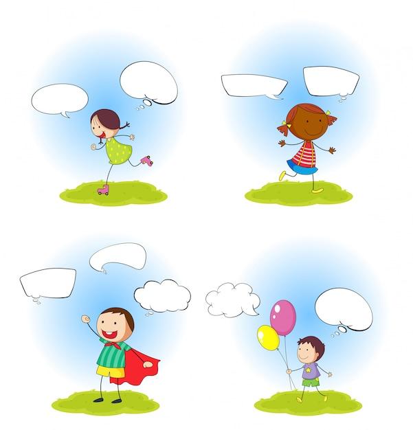 Ensemble d'enfants avec ballon de speeach Vecteur gratuit