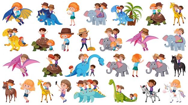 Ensemble d'enfants chevauchant des animaux Vecteur Premium