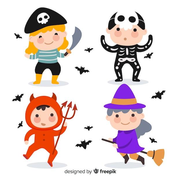 Ensemble d'enfants de costume de dessin animé de halloween drôle et mignon Vecteur gratuit