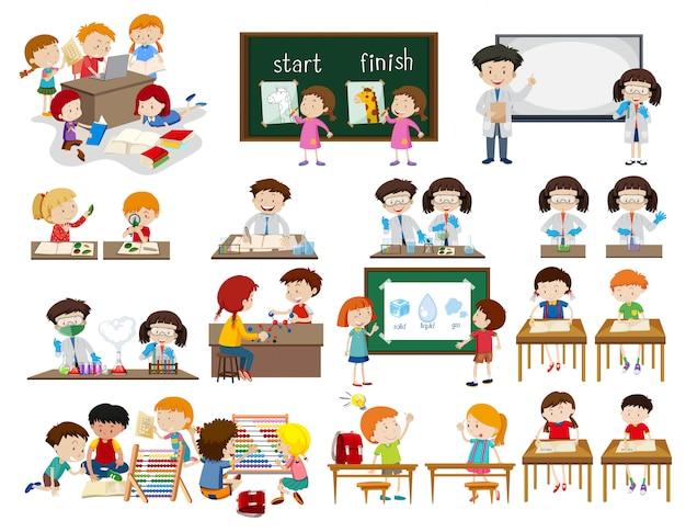 Ensemble d'enfants dans des scènes de classe Vecteur Premium