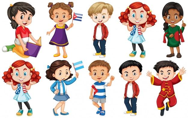 Ensemble d'enfants de différents pays Vecteur gratuit