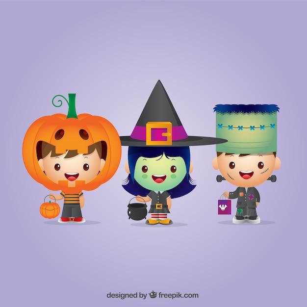 Ensemble Des Enfants De Halloween Agréables Habillé Vecteur Premium