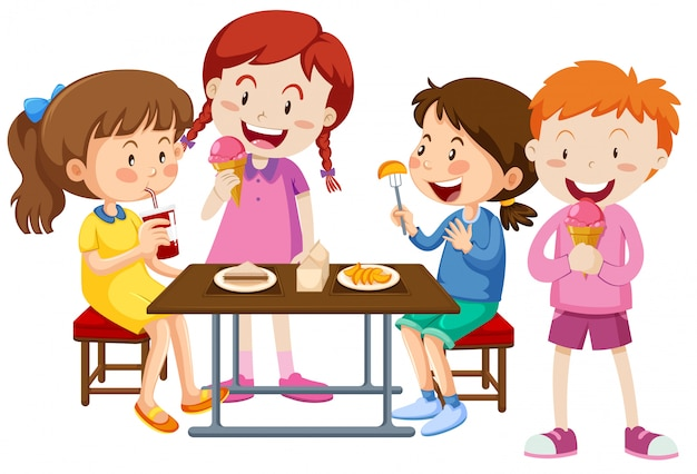 Ensemble d'enfants mangeant ensemble Vecteur gratuit