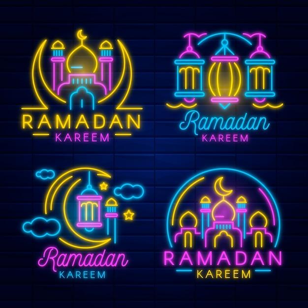 Ensemble D'enseignes Au Néon Ramadan Vecteur gratuit