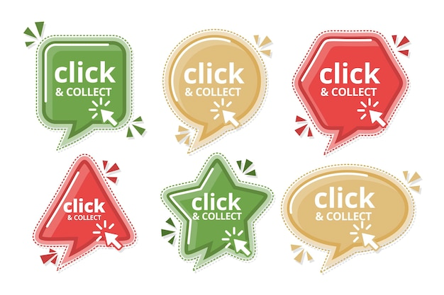 Ensemble D'enseignes Détaillées Click And Collect Vecteur gratuit