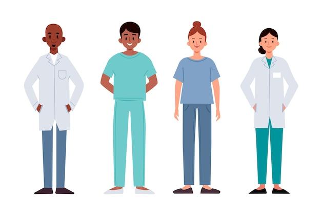 Ensemble D'équipe De Professionnels De La Santé Vecteur gratuit