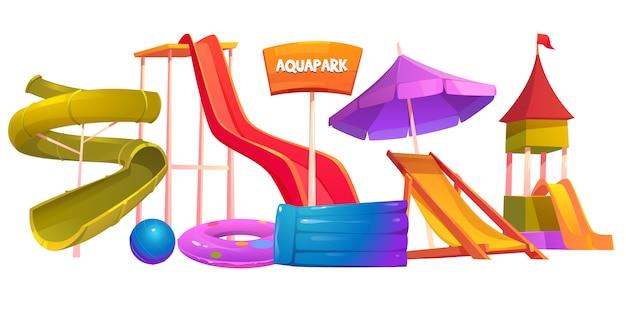 Ensemble D'équipement Aquapark Eau De Parc D'attractions Moderne Vecteur gratuit