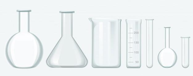 Ensemble D'équipements De Sciences Chimiques. Illustration Vectorielle De Laboratoire Verre équipement. Vecteur Premium