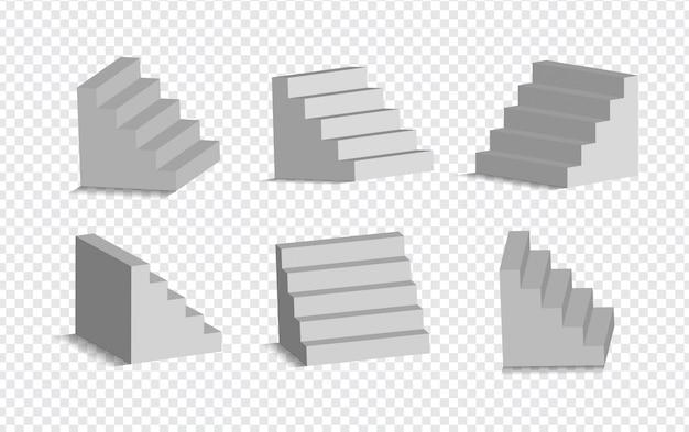 Ensemble D'escaliers Blancs 3d Isolés. Escaliers Blancs Architecturaux, Collection D'étapes Pour L'illustration Intérieure Vecteur Premium