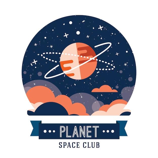 Ensemble d'espaces vintage et insignes astronautes, emblèmes, logos et étiquettes. Vecteur gratuit