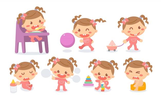 Ensemble D'étapes De Développement De Bébé Fille En Actions. Jalons Bébé. Vecteur Premium