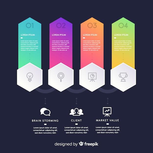Ensemble d'étapes d'infographie en dégradé Vecteur gratuit