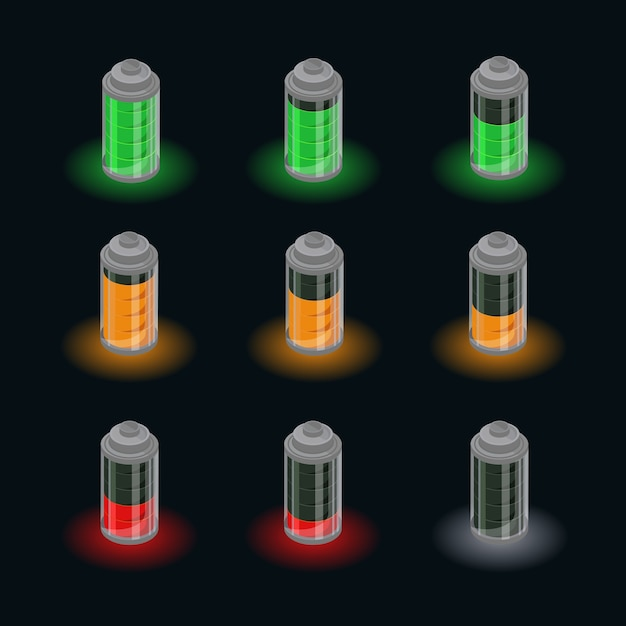Ensemble D'état De Charge Isométrique De La Batterie Vecteur gratuit