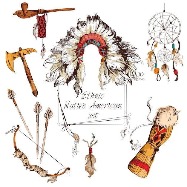 Ensemble ethnique amérindien coloré Vecteur Premium