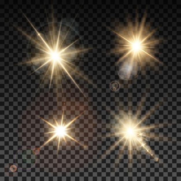 Ensemble D'étincelles D'éclairage Vectoriel Sur Fond Transparent Vecteur gratuit