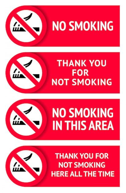 Ensemble D'étiquettes Autocollants Non Fumeurs Vecteur Premium