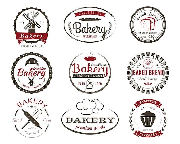 Ensemble D'étiquettes De Boulangerie, Badges De Cuisson Et éléments De Conception, Symboles De Bonbons. Pain Frais, Modèles De Logo De Gâteaux. Style Vintage 2 Couleurs. Vecteur Premium