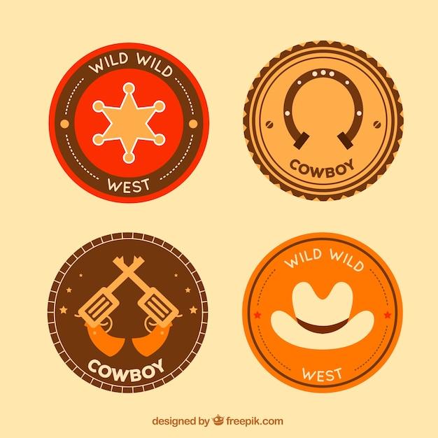 Ensemble d'étiquettes circulaires cowboy Vecteur gratuit