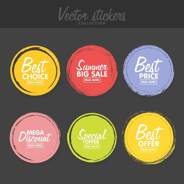 Ensemble D'étiquettes Colorées Vintage Pour Les Salutations Et La Promotion. Vecteur Premium