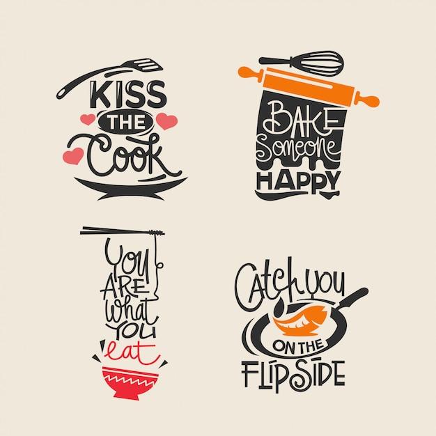 Ensemble D'étiquettes De Cuisine Et De Cuisine, Coupe De Papier De Typographie Et Lettrage Vecteur Premium