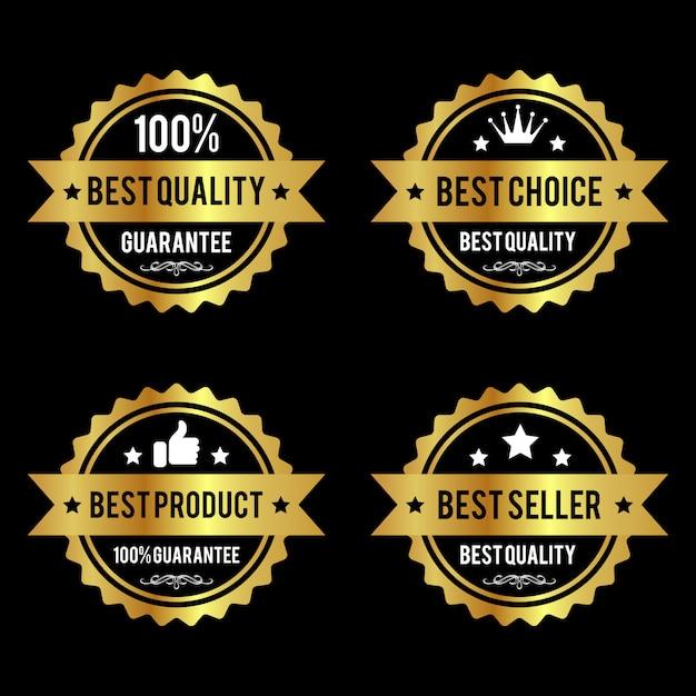 Ensemble d'étiquettes dorées de qualité supérieure Vecteur Premium