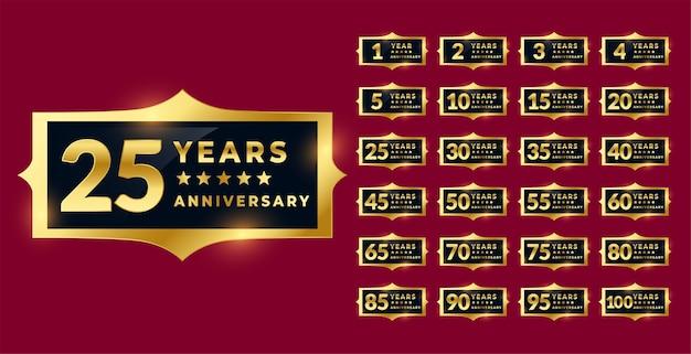 Ensemble D'étiquettes Ou D'emblèmes D'anniversaire En Or Brillant Vecteur gratuit