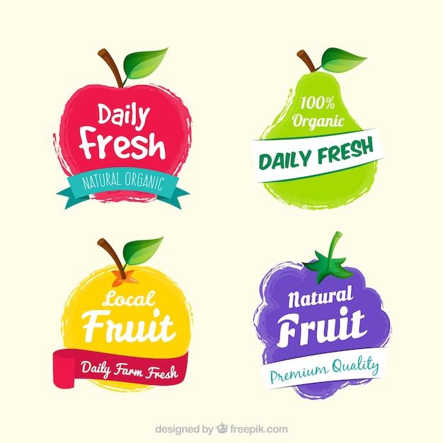 Ensemble d'étiquettes de fruits fantastiques Vecteur gratuit