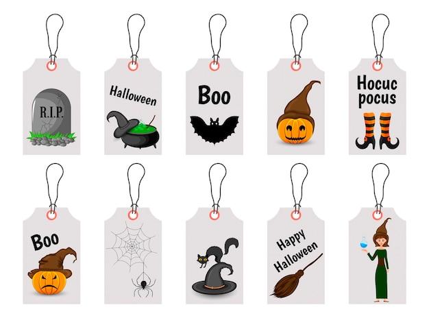 Ensemble D'étiquettes D'halloween Pour Les Produits De Vacances Vecteur Premium