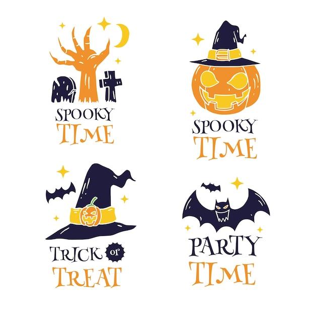 Ensemble D'étiquettes Happy Halloween Dessinés à La Main Vecteur Premium