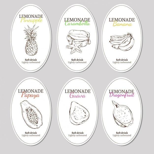 Ensemble D'étiquettes De Limonade Rafraîchissante Dessinées à La Main Vecteur gratuit