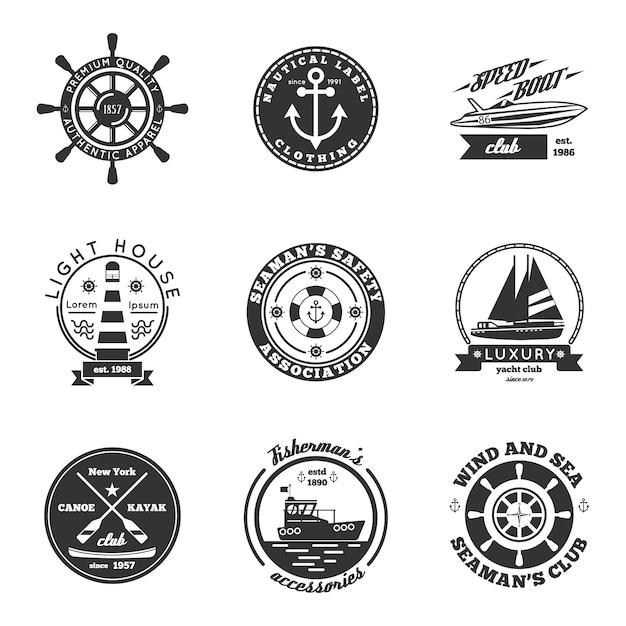 Ensemble d'étiquettes nautiques Vecteur gratuit
