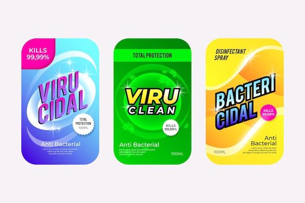 Ensemble D'étiquettes Nettoyantes Viricides Et Bactéricides Vecteur gratuit