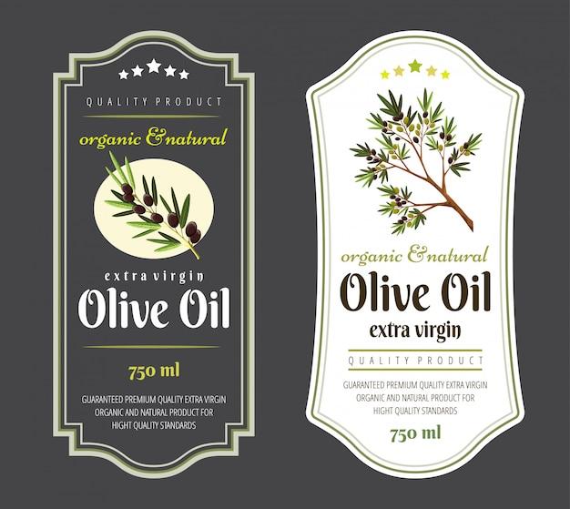 Ensemble D'étiquettes Plates Et Badges D'huile D'olive. Vecteur Premium