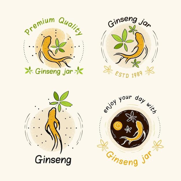 Ensemble D'étiquettes De Pot De Ginseng Vecteur gratuit