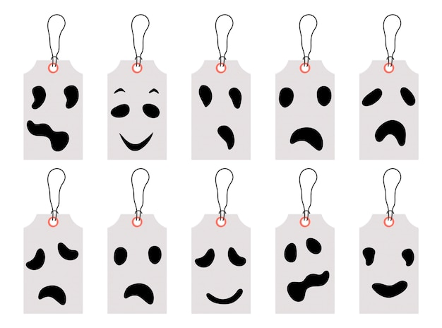 Ensemble d'étiquettes de prix d'halloween ou d'étiquettes Vecteur Premium