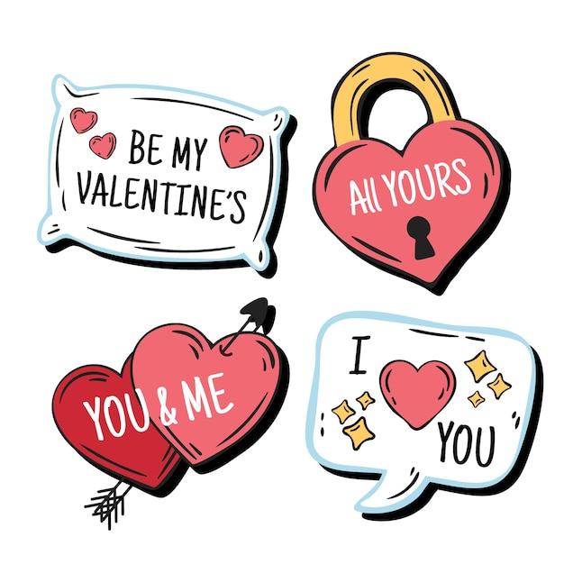Ensemble D'étiquettes Saint Valentin Dessinés à La Main Vecteur gratuit