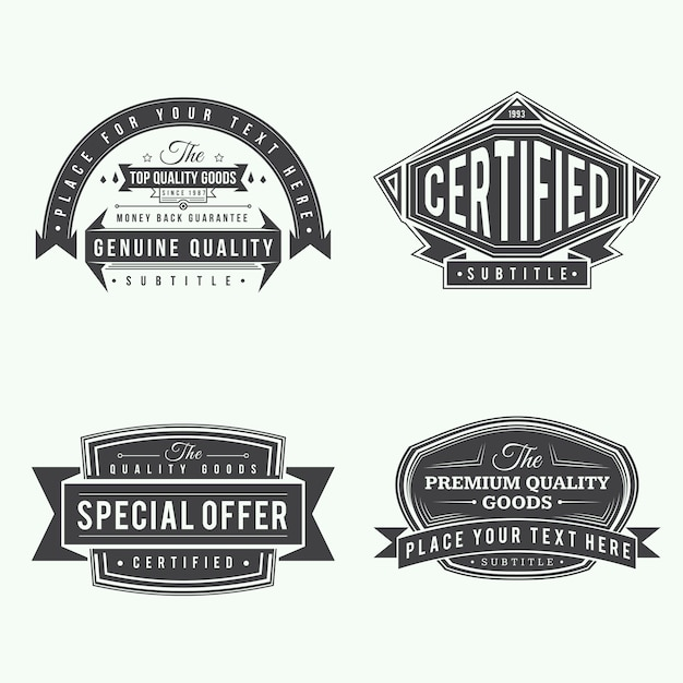 Ensemble d'étiquettes style vintage ruban rétro et bannières design de couleur noire Vecteur Premium