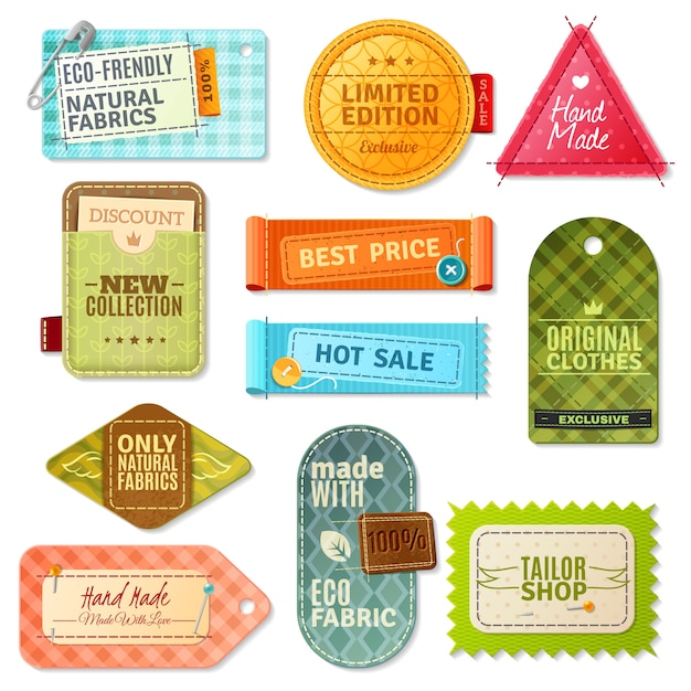 Ensemble d'étiquettes en tissu Vecteur gratuit