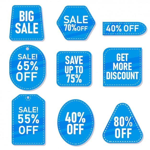 Ensemble d'étiquettes de vente bleues, étiquettes et autocollants avec différentes remises Vecteur Premium