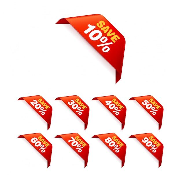Ensemble d'étiquettes de vente. pack d'autocollants à prix réduits Vecteur Premium