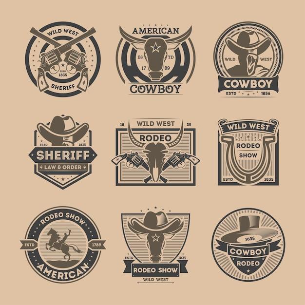 Ensemble D'étiquettes Vintage Isolé Cowboy Vecteur Premium