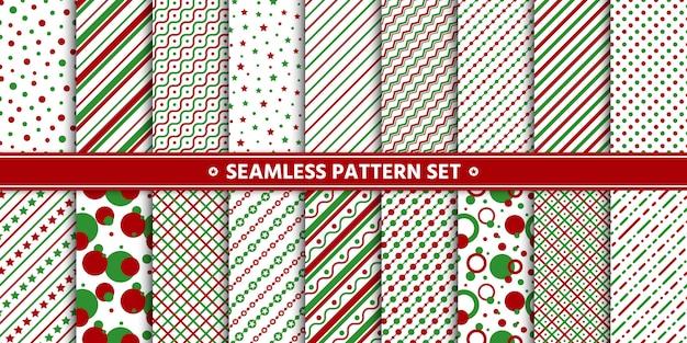 Ensemble étoile de cercle ligne modèle sans couture, papier d'emballage, vert rouge blanc. Vecteur Premium