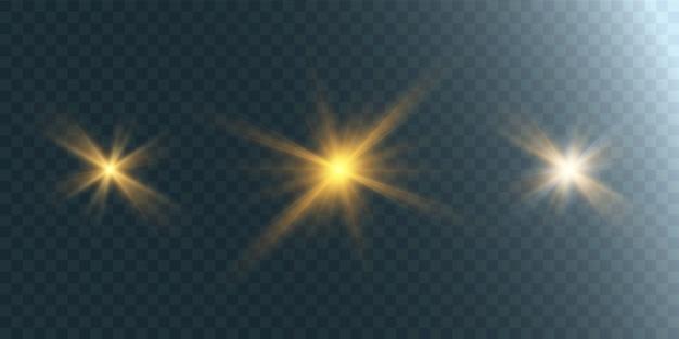 Ensemble D'étoiles Brillantes Sur Fond Transparent Vecteur Premium