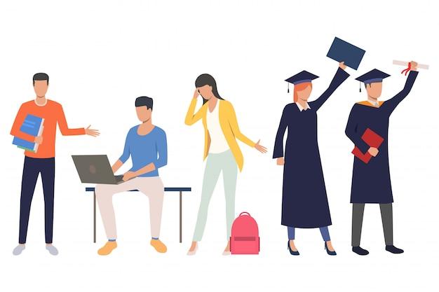 Ensemble d'étudiants de graduation Vecteur gratuit