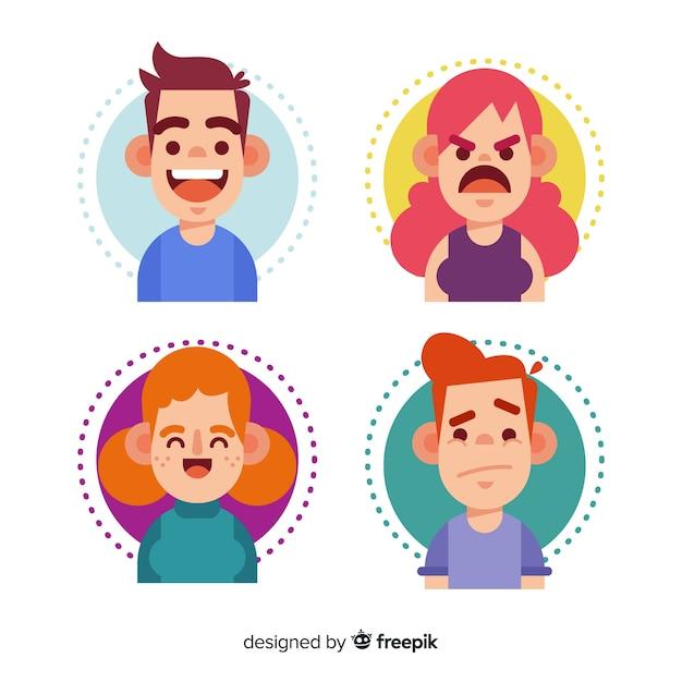 Ensemble d'expression du visage de différentes émotions Vecteur gratuit