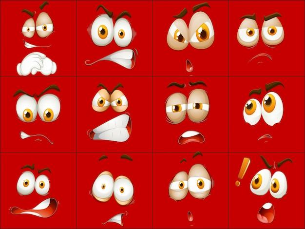 Ensemble d'expression du visage rouge Vecteur gratuit