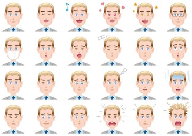 Ensemble d'expressions faciales diverses Vecteur Premium